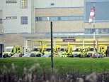 PICTURED: Queue of 18 ambulances waiting to drop off patients at hospital as 'not enough staff and beds to treat them'